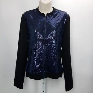 Tommy Hilfiger Sequined Jacket Full Zip Sz S Blue